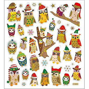 Multicolored Stickers-Owls In Christmas Hats SK129MC-1506