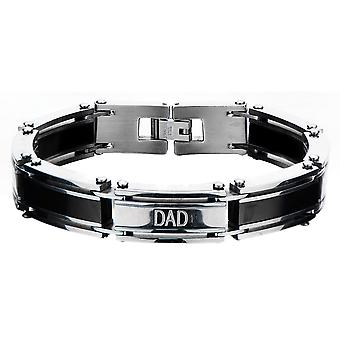 Stainless steel bracelet for men's IP black, with DAD lettering
