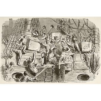 The Boston Tea Party December 16 1773 Colonists Disguised As Mohawk Indians Destroy Chests Of Tea On Ships In Boston Harbour From A 19Th Century Illustration PosterPrint