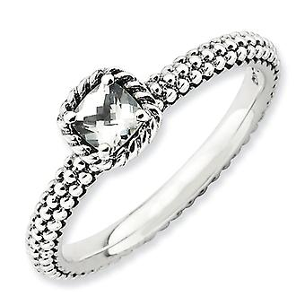 2.5 mm Sterling Zilver Prong instellen Antique finish stapelbare expressies Checker-cut White Topaz Boulder Ring - Ringmaat: