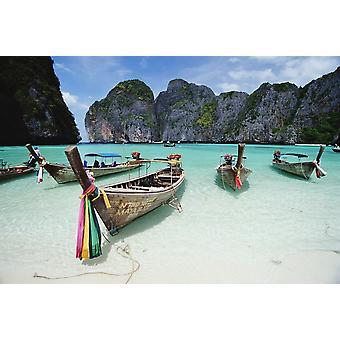 Wooden Boats In Maya Bay PosterPrint