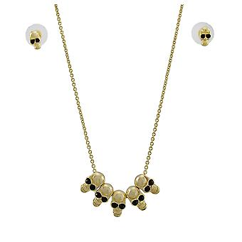 Gold Tone Skull Bead Necklace and Earrings Set