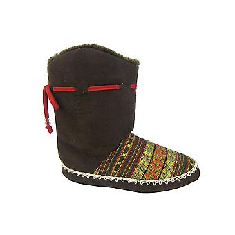 Ladies Cooler Brand Slipper Knitted & Microsuede Design Warm Snugg Boot 080