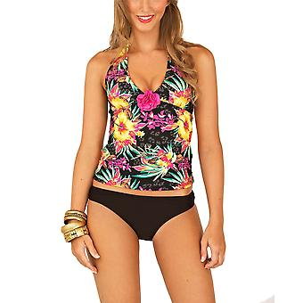 Boutique Ladies 3D Rose Black Tankini with Bottoms