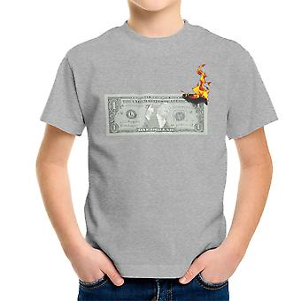 Burning Dollar Bill Donald Trump Usa Republican Kid's T-Shirt