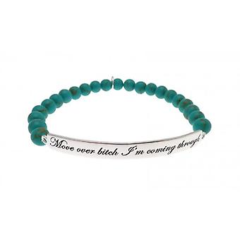 W.A.T Sterling Silver 'Move Over Bitch I'm Coming Through' Turquoise Bead Bracelet .