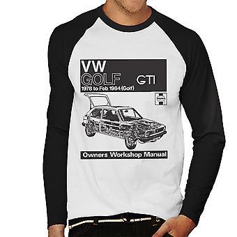 Haynes Workshop Manual VW Golf GTI 78 to 84 Black Men's Baseball Long Sleeved T-Shirt