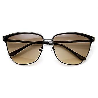Womens Fashion Full Metal Frame Animal Print Horn Rimmed Sunglasses