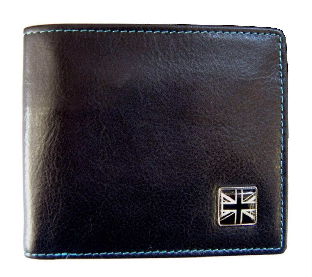 Tyler and Tyler Leather Union Jack Bill Fold Wallet - Black