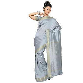 Grå kunst silke Saree Sari stof Indien gylden kant