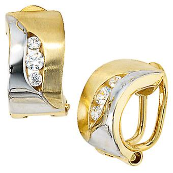 Clip earrings, part rhodium plated 333 / - yellow gold, partially frosted, 6 cubic zirconia, earrings women's