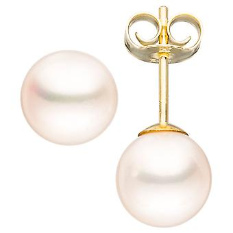 Studs 585 Gold Yellow Gold 2 freshwater pearl beads earrings