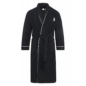 U.S. POLO ASSN. Coat men's black sauna coat bathrobe Terry cloth