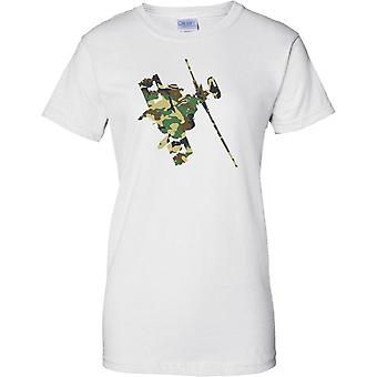 Banking Apache Helicopter Camo - Army Air Attack Chopper - Ladies T Shirt