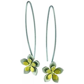 Ti2 Titanium Double Five Petal Flower Drop Earrings - Yellow