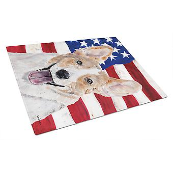 Cardigan Corgi with American Flag USA Glass Cutting Board Large Size