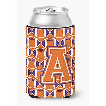 Letter A Football Orange, White and Regalia Can or Bottle Hugger