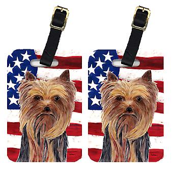 Carolines Treasures  SC9013BT Pair of USA American Flag with Yorkie Luggage Tags