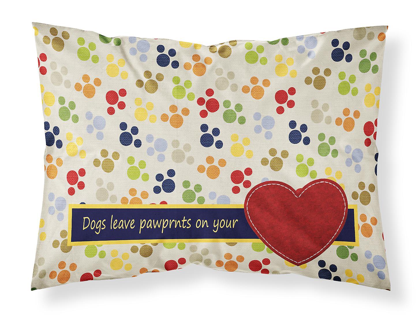 D'oreiller Standard Wicking Chiens Votre Les Laissent Sur Coeur L'humidité Tissu Taie Pawprints f6gyYbv7