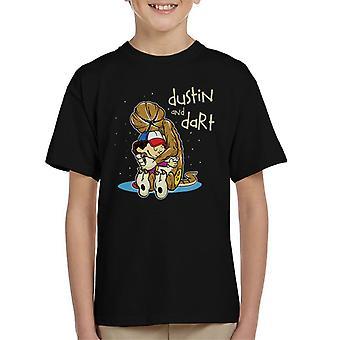 Text Dustin And Dart Stranger Things Calvin Hobbes Kid's T-Shirt