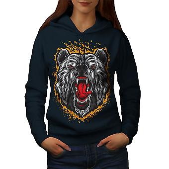 Bear Animal Women NavyHoodie | Wellcoda