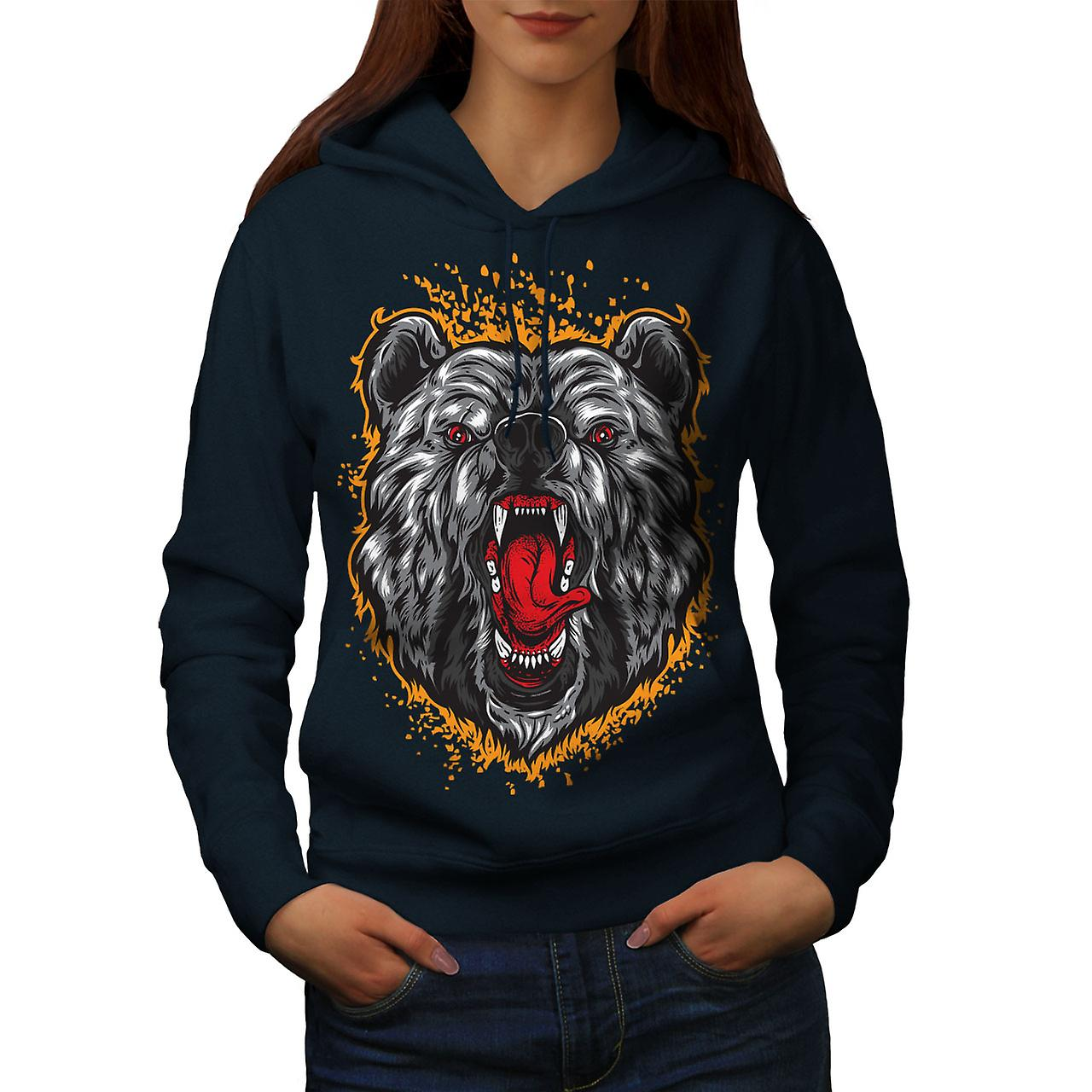 Bear Animal Women NavyHoodie   Wellcoda