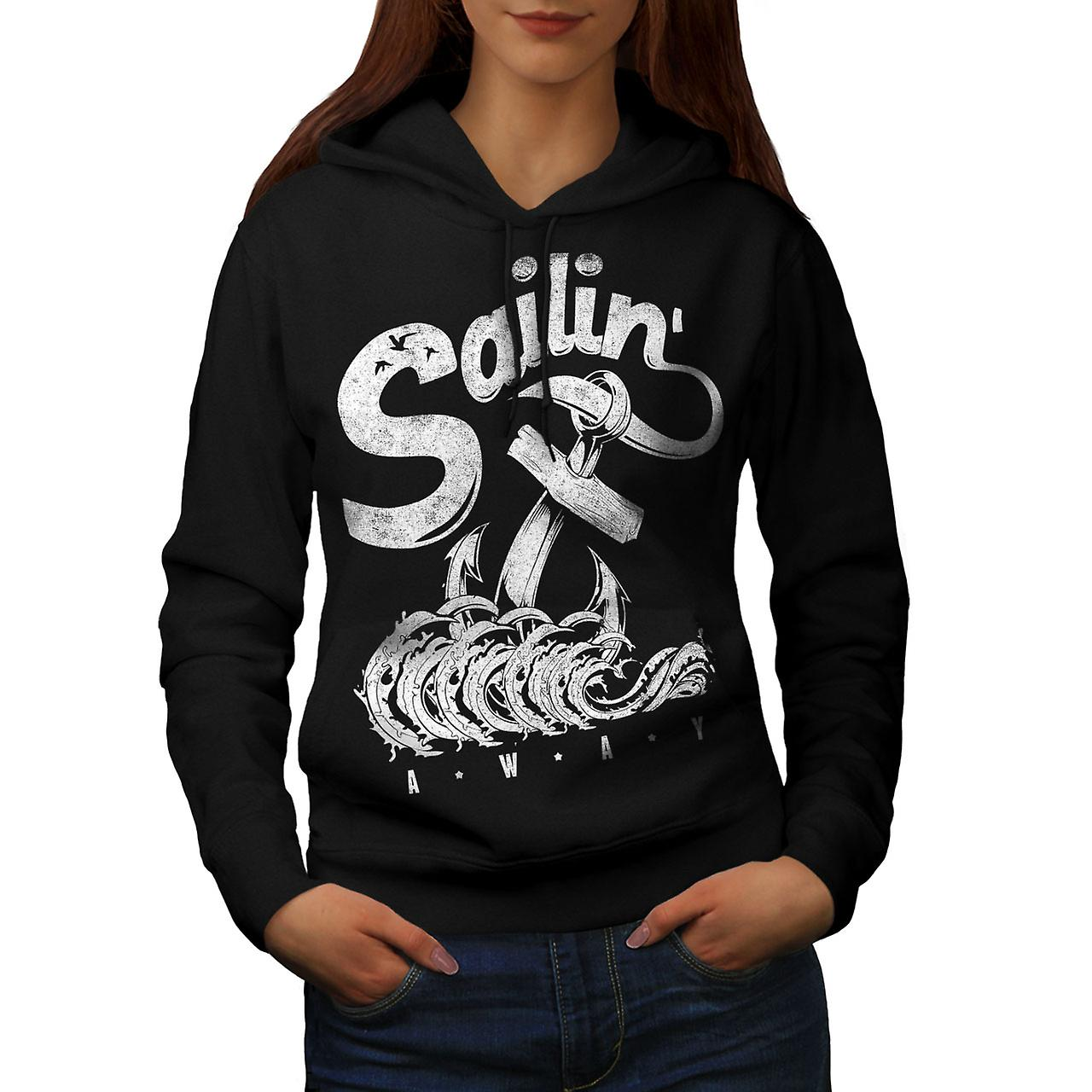 Sailing Navy Sea Vintage Women Black Hoodie | Wellcoda
