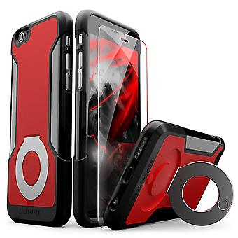 SaharaCase® iPhone 6/6s Red Case, Kickstand Protective Kit Bundle with ZeroDamage® Tempered Glass