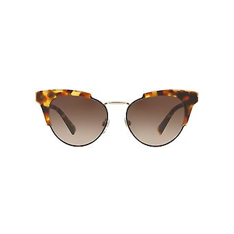 Valentino Metal Bridge Cateye Sunglasses In Orange Havana