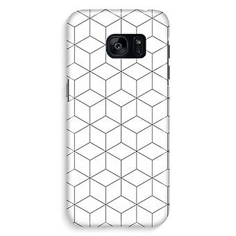 Samsung S7 Edge Full Print Case - Cubes black and white