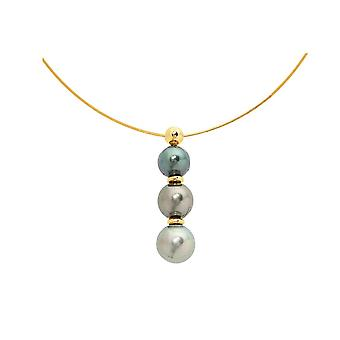 Necklace gold 750/1000 and 3 pearls of Tahiti yellow Cable