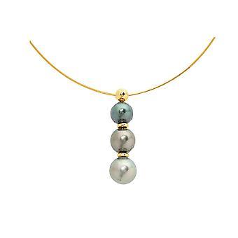 Halskjede gull 750/1000 og 3 perler av Tahiti gule kabelen