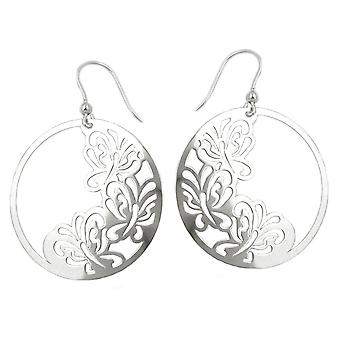 Floral ear fish hook earring silver BUTTERFLY shiny earrings Silver 925