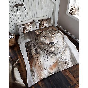 3D djur Wolf Premium påslakan sängkläder Set enda Dubbelrum King