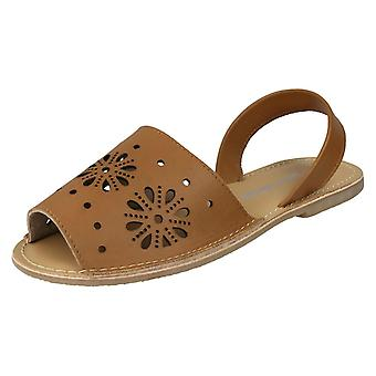 Ladies Leather Collection Flower Design Mules F00144 - Tan Leather - UK Size 8 - EU Size 41 - US Size 10