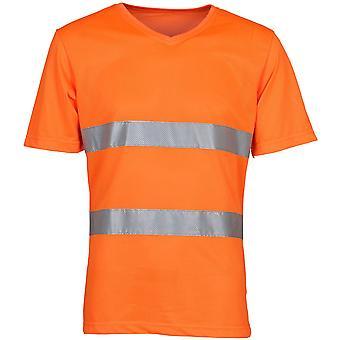 Yoko Mens Hi Vis Top Cool Super Light Mesh V Neck Safety T Shirt