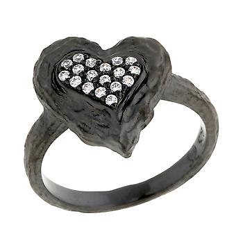 Orphelia Silver 925 Ring Black Heart  Zirconium   ZR-7082/2