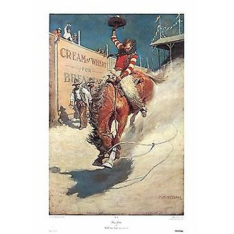Bronco Buster Poster Print by Newell Convers Wyeth (23 x 35)