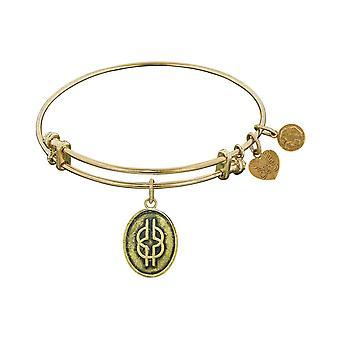 Acabado liso bronce sabiduría Angélica brazalete pulsera de nudo, 7,25