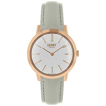 Henry London Iconic Womens White Dial Grey Leather Strap HL34-S-0220 Watch
