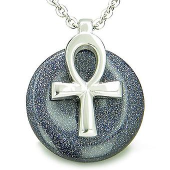 Alle beføjelser af liv Ankh egyptiske Amulet blå Goldstone held energi Donut halskæde