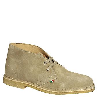 Men's desert boots in beige suede leather handmade