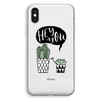 iPhone XS Transparant Case (Soft) - Hey you cactus