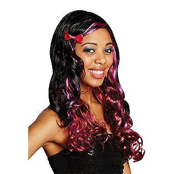MIA krullend Lady pruik kant zwart rood roze accessoire carnaval afscheid