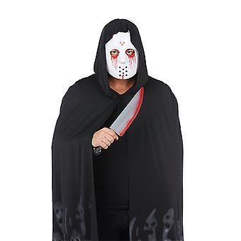 Máscara sangrienta y cuchillo juego de 2 pzs. Traje de asesino en serie para Halloween