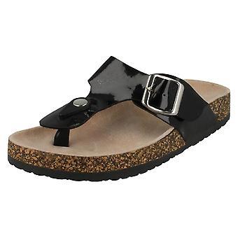 Womens Fleck auf verstellbare Schnalle Toepost Sandalen