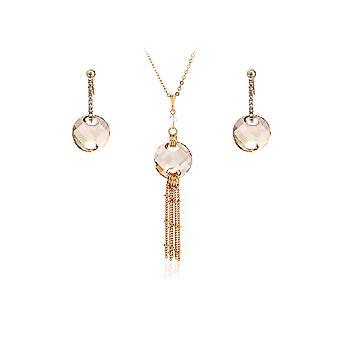 Parure Collier et Boucles d'oreilles en Cristal de Swarovski Elements Doré