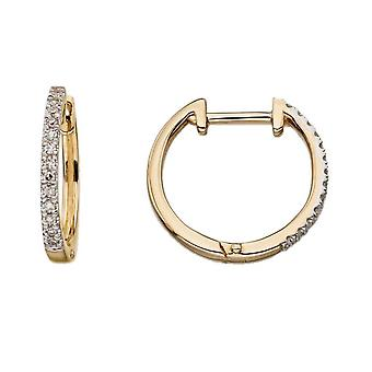 Elements Gold Diamond Huggie Earrings - Gold/Clear