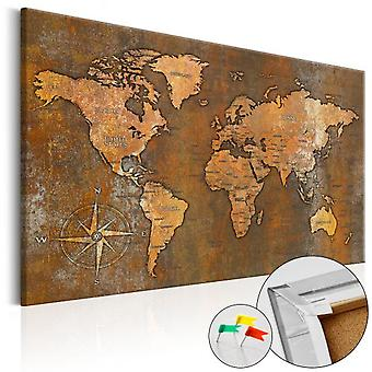 Artgeist Cork Board Rusty World Cork Map (Decoration , Pictures and frames , Cork boards)