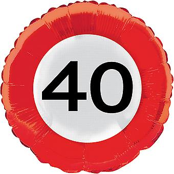 Foil balloon traffic sign number 40 birthday helium balloon party